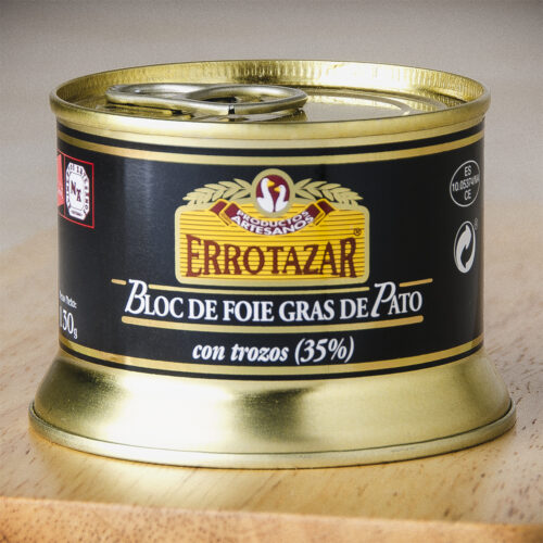 Bloc de Foie-Gras de Pato 35% Trozos. Lata 130gr