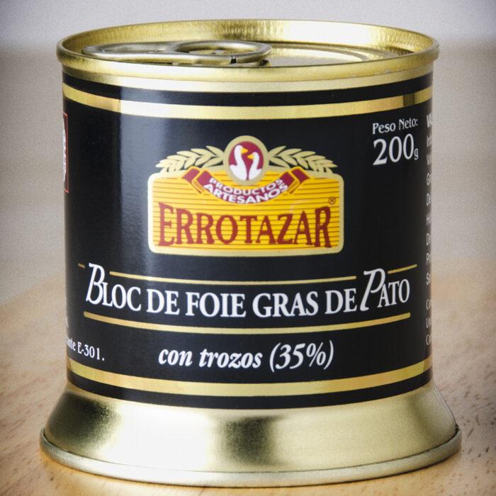 Bloc de Foie-Gras de Pato 35% Trozos. Lata 200gr